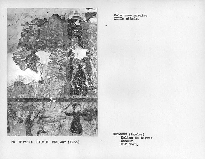 Peinture murale du mur nord du choeur, Enfer et Saint-Pierre? sur le registre supérieur à gauche de la porte