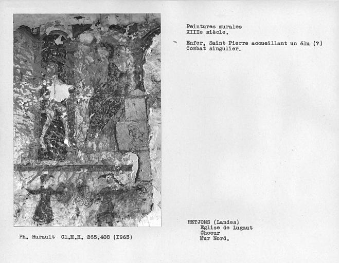 Peinture murale du mur nord du choeur, Enfer, Saint-Pierre? et combat singulier à gauche de la porte