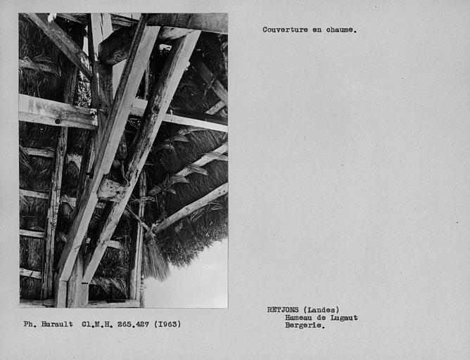 Toiture de chaume. Dessous du toit montrant les noeuds de chaume