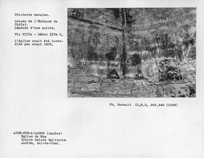 Peinture murale du cul-de-four de la crypte Sainte-Quitterie au registre inférieur, scènes de l'enfance du Christ et légende d'une Sainte