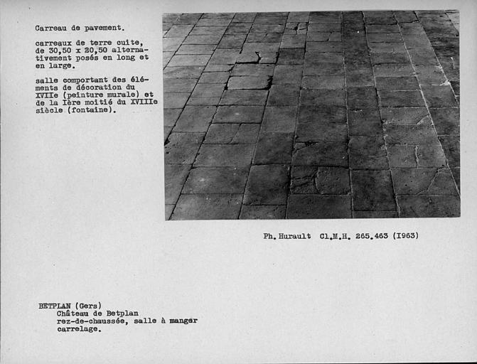 Carreaux de pavement en terre cuite de la salle à manger du rez-de-chaussée