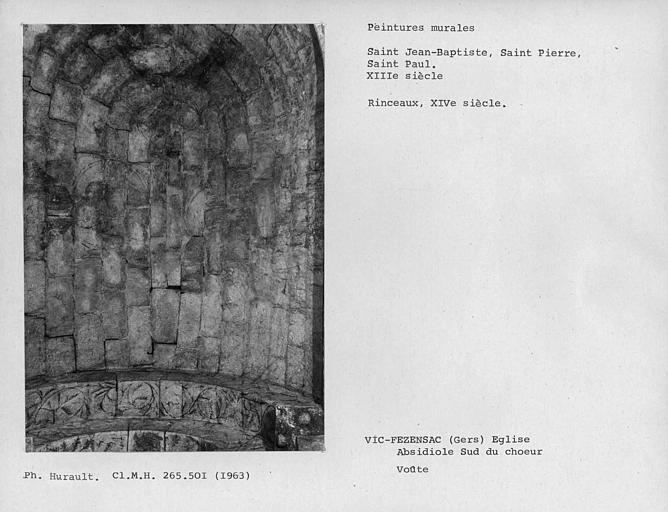 Peinture murale de l'ensemble de la voûte de l'absidiole sud