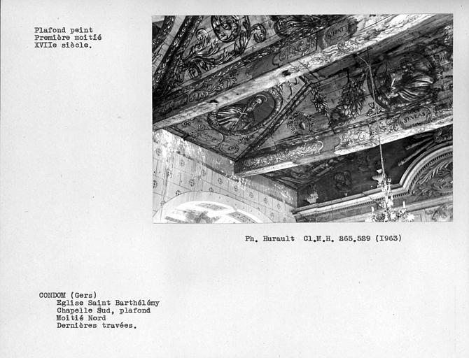 Plafond peint de la chapelle latérale sud, vue d'ensemble nord-est