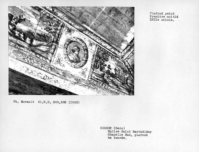 Quatrième caisson du plafond peint de la chapelle latérale sud, médaillon sur la face ouest de la poutre
