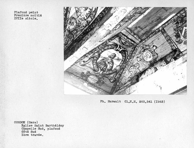 Plafond peint de la chapelle latérale sud, angle sud-ouest du premier caisson