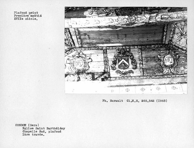 Plafond peint de la chapelle latérale sud, partie ouest du premier caisson