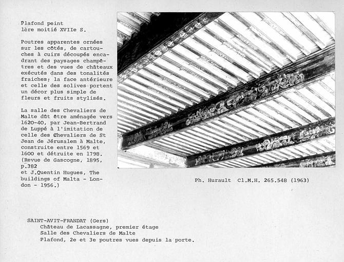 Plafond peint de la salle des Chevaliers de Malte, deuxième et troisième poutres vues depuis la porte. Poutres apparentes ornées, sur les côtés, de cartouches à cuirs découpés encadrant des paysages champêtres et des vues de châteaux exécutés dans des ton