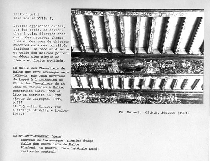 Plafond peint de la salle des Chevaliers de Malte, cartouche central de la quatrième poutre face à l'entrée. Poutres apparentes ornées, sur les côtés, de cartouches à cuirs découpés encadrant des paysages champêtres et des vues de châteaux exécutés dans d