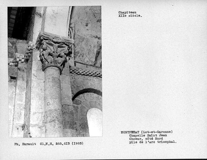 Chapiteau nord du doubleau séparant le choeur de la nef
