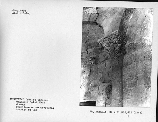 Chapiteau de l'arcature aveugle du choeur, situé entre l'arcade sud et l'arcade sud-est