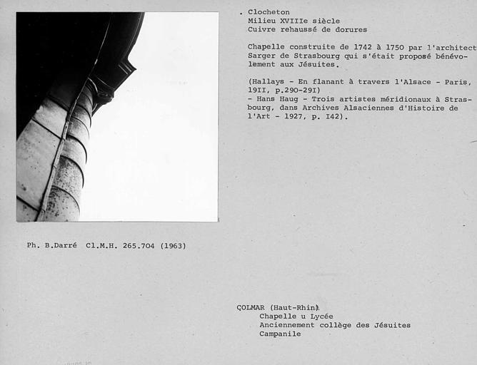 Couverture en cuivre d'un chapiteau du campanile