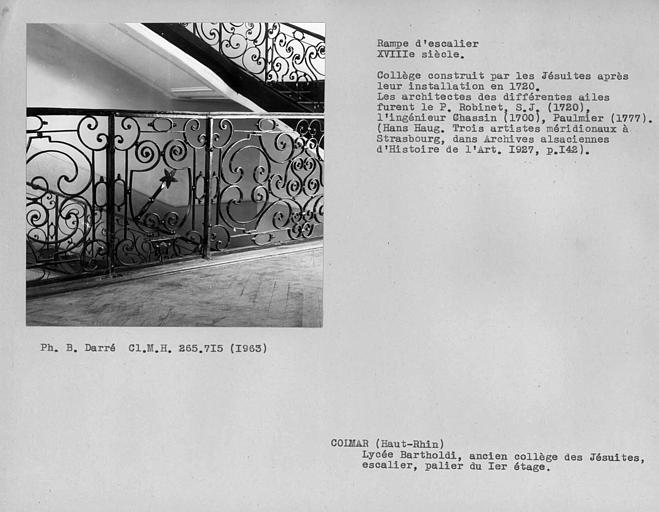 Rampe en fer forgé de l'escalier d'honneur, détail du palier du premier étage