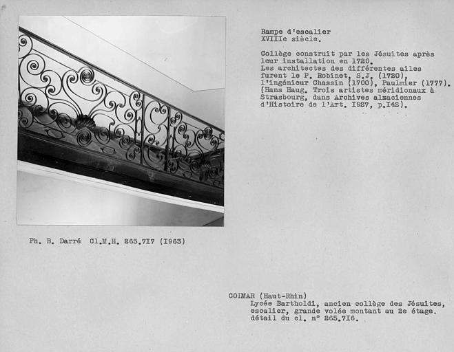 Rampe en fer forgé de l'escalier d'honneur, deuxième volée entre le premier et le deuxième étage