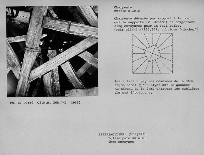 Charpente du clocher vue par dessous, première enrayure, assemblage des entraits et des goussets