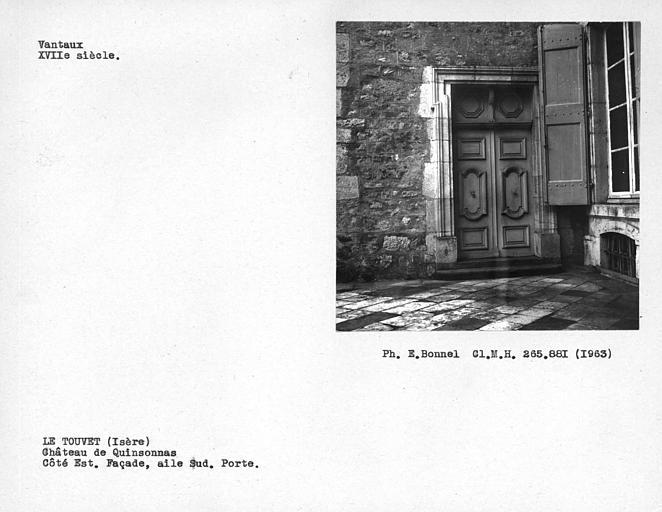 Vantaux de la porte de l'avant-corps sud de la façade côté ouest