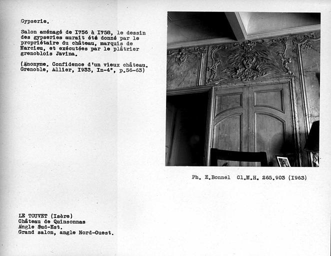 Décor du grand salon à l'angle sud-est, angle nord-ouest des gypseries peintes en faux marbre