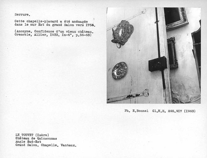 Serrure, verrou vertical des vantaux, dans un placard de la chapelle
