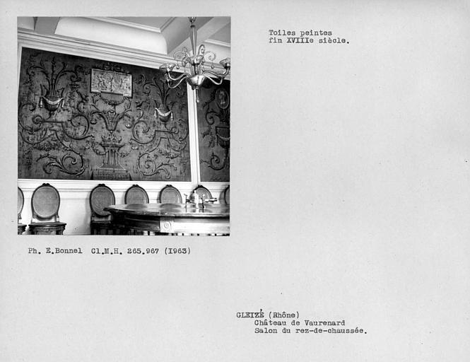 Toiles peintes du mur sud du salon à gauche du hall d'entrée