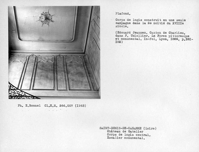 Corps de logis central, gypserie du plafond de l'escalier monumental