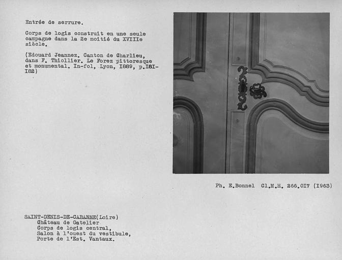 Entrée de serrure du vantail de porte du grand salon de la façade sud