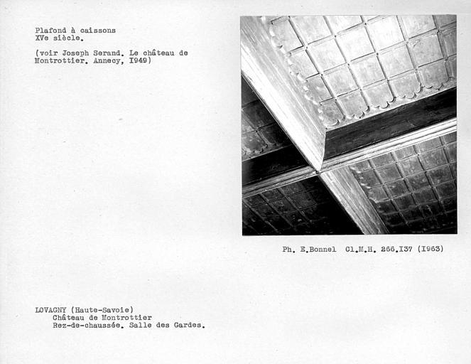 Plafond à caissons en bois de la salle des gardes au rez-de-chaussée
