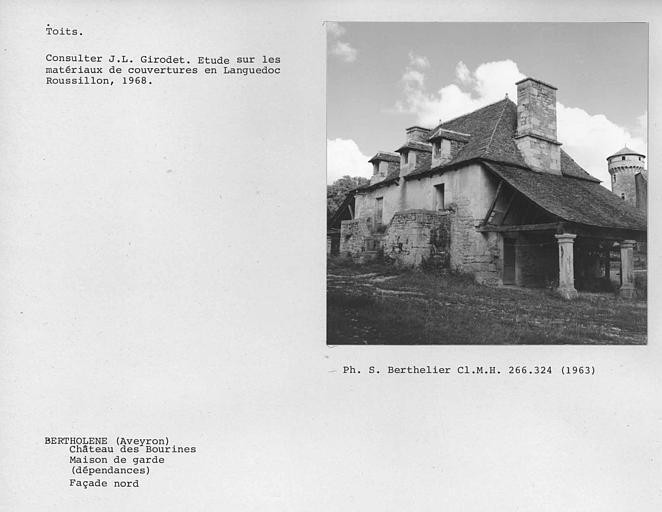 Façade nord de la maison de garde, toit