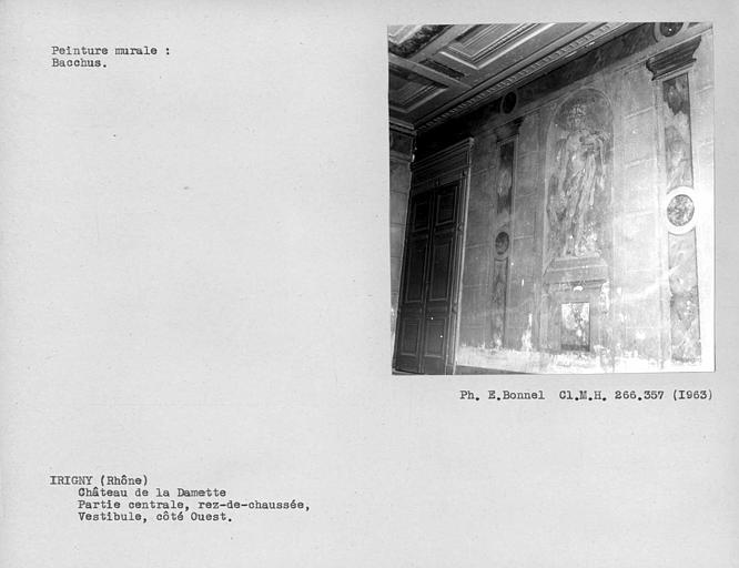 Peinture murale côté est du vestibule de la façade sud : Bacchus