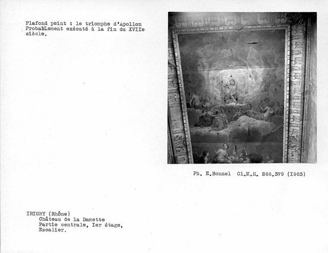 Plafond peint de l'escalier au premier étage côté nord : Le triomphe d'Apollon