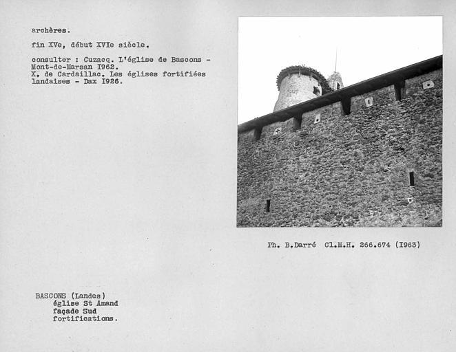 Archères et fortifications de la façade sud