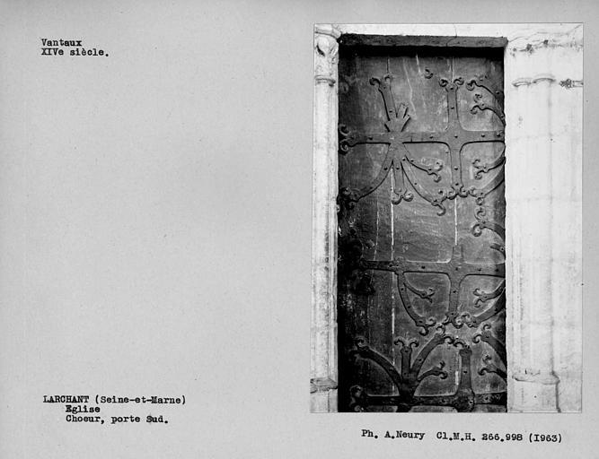 Vantaux à pentures de la porte du choeur, côté sud