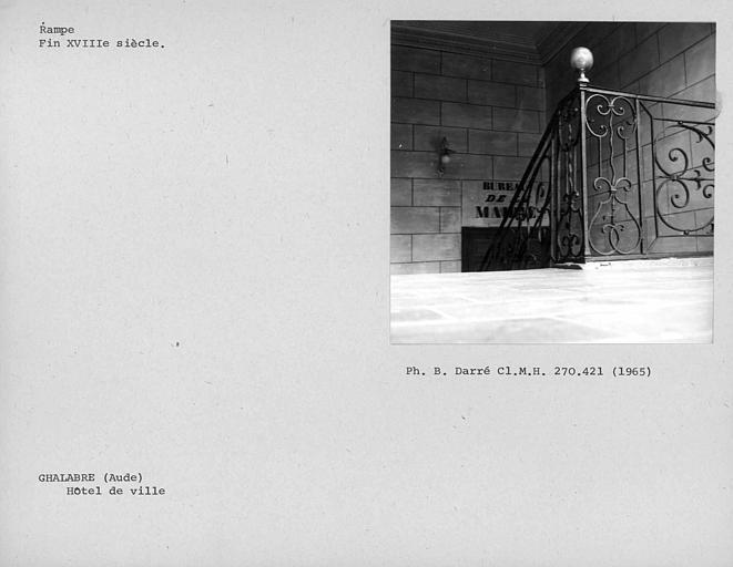 Rampe en fer forgé de l'escalier, palier du premier étage