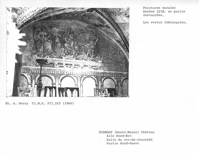 Peintures du mur nord-est de la salle peinte au rez-de-chausée de l'aile nord-est : vertus théologales