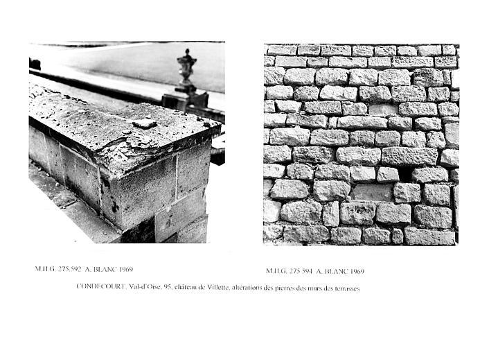 Altération des pierres avec joints des murs de soutènement des terrasses