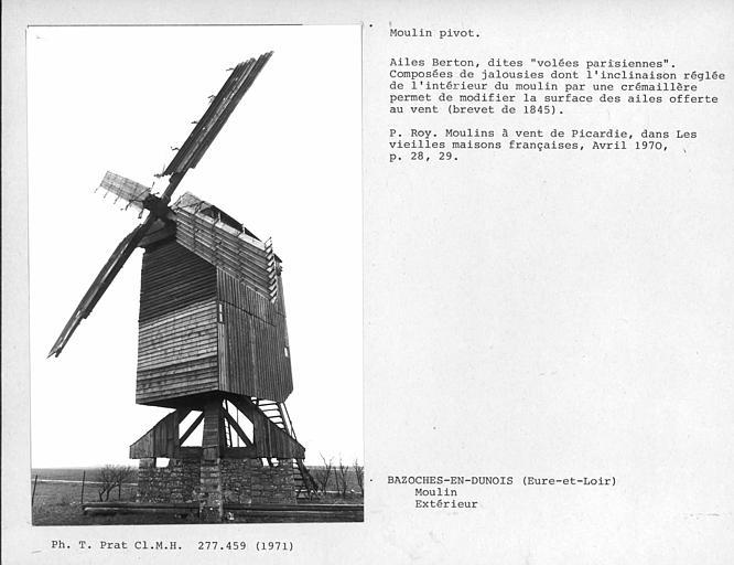 Face arrière, ensemble du moulin et ailes Berton ouvertes