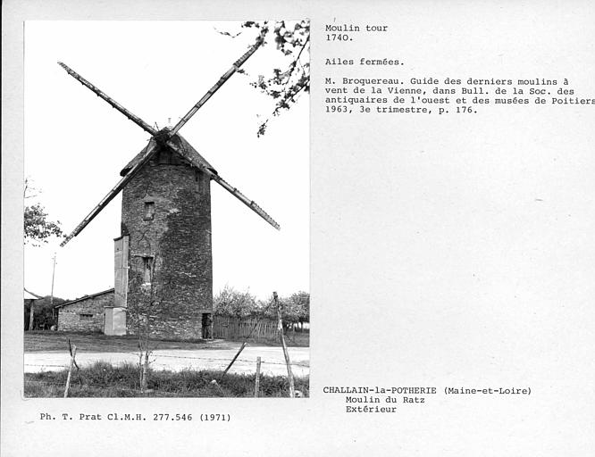 Vue d'ensemble du moulin, ailes Berton fermées