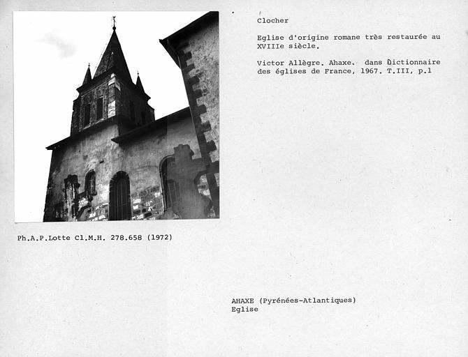 Façades sud et est du clocher de l'église restaurée au 18e siècle