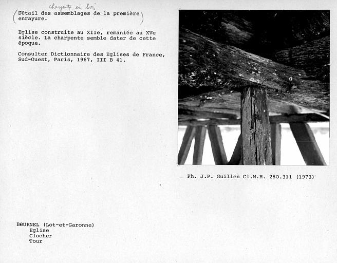 Charpente du clocher, détail d'assemblage de la première enrayure