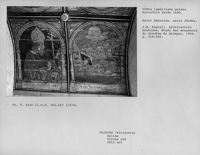 Charpente lambrissée peinte du porche sud, côté est : Saint-Ambroise et Saint-Jérome