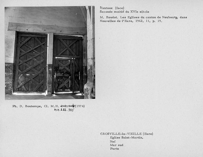 Revers des vantaux de la porte du mur sud