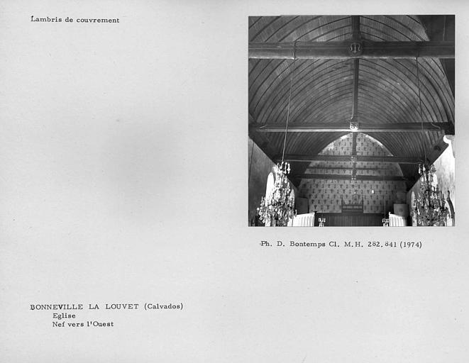 Charpente lambrissée de la nef vers l'ouest