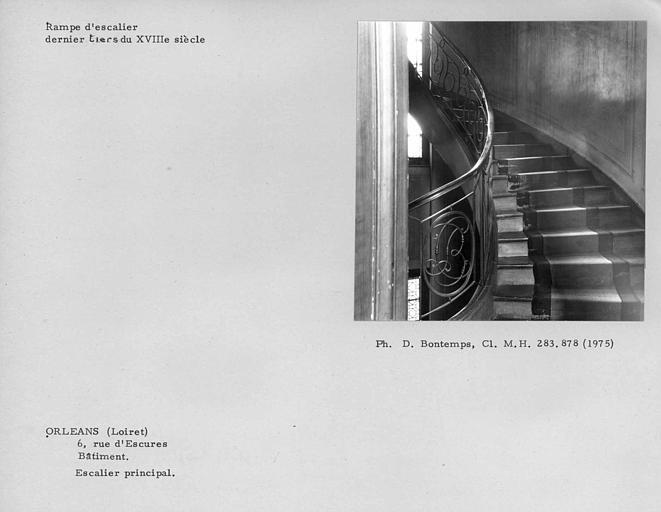 Rampe de l'escalier principal entre le premier et le dernier étage