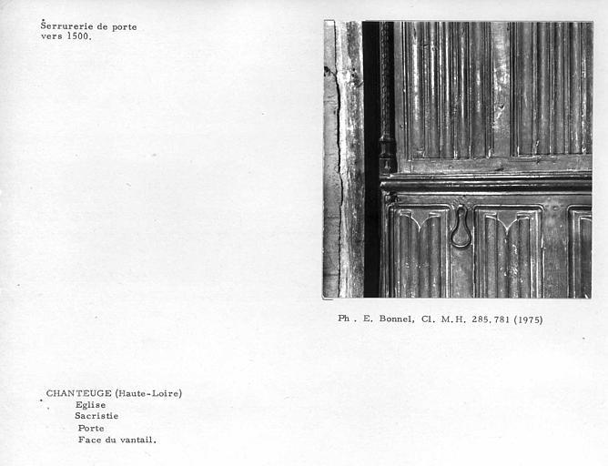 Serrurerie du vantail de porte de la sacristie