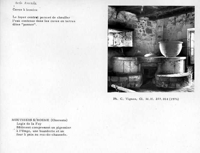 Foyer et ponnes (cuves en terre) de la buanderie charentaise