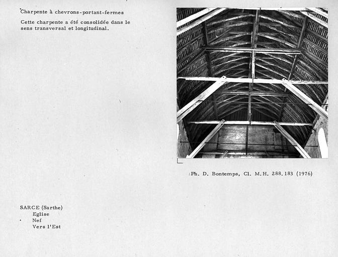 Charpente à chevrons-portant-fermes de la nef, vers l'est