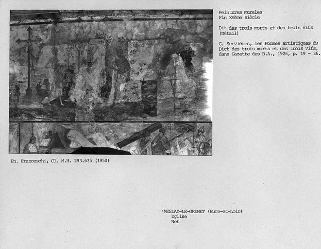 Détail de la peinture murale de la nef : dit des trois Morts et des trois Vifs, les trois Morts