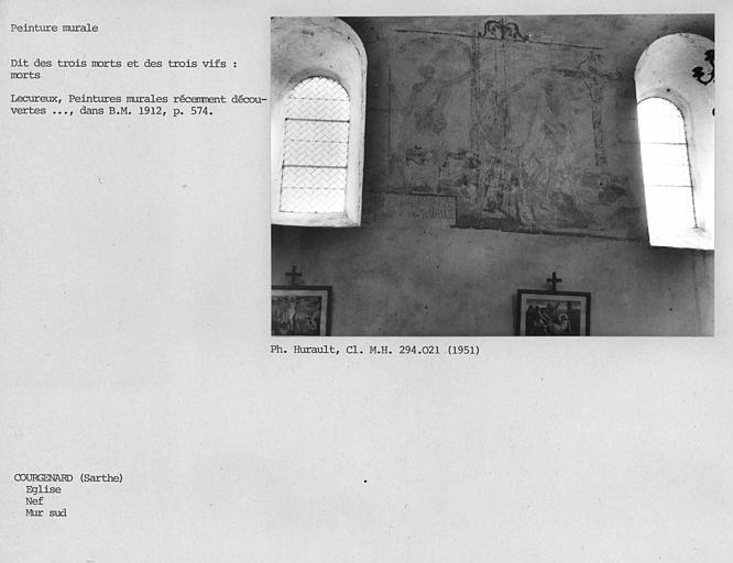 Peinture murale sur le mur sud de la nef : dit des trois Morts et des trois Vifs : les trois Morts