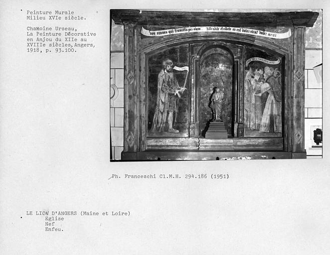 Peinture murale du mur nord de la nef : Enfeu avec scènes de la Passion et Ecce Homo
