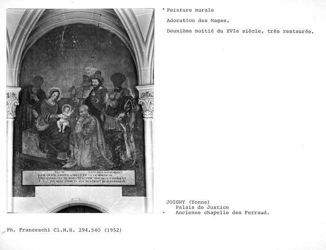 Peinture murale : Adoration des Mages (très restaurée)