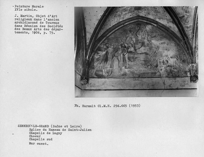 Peinture murale sur le mur ouest au sud du choeur de la chapelle de Lugny : l'Assomption, ensemble