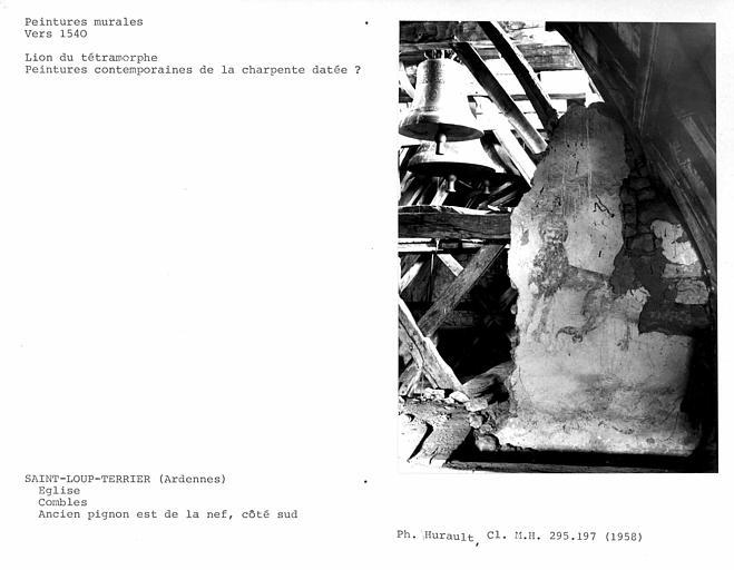 Côté sud du comble de l'ancien pignon est de la nef : tétramorphe, lion